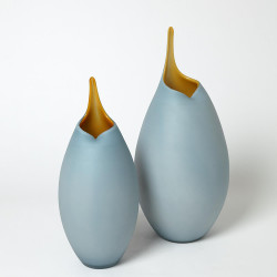 Frosted Blue Vase w/Amber Casing - Lg