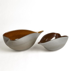 Frosted Grey Bowl W/Amber Casing - Lg