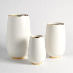 Gold Rim Bulb Vase - White - Med