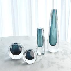 Hexagon Cut Glass Vase - Azure