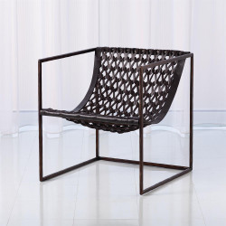 Knit Pearl Chair - Bronze - Dark Brown Leather