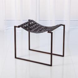 Knit Pearl Stool - Bronze - Dark Brown Leather