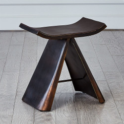 Mod Metal Stool w/ Brown Leather Seat Cover - Bronze