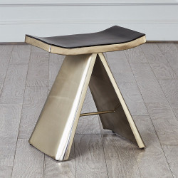 Mod Metal Stool w/Grey Leather Seat Cover - Nickel