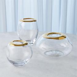 Organic Formed Vase - Gold Rim - Sm
