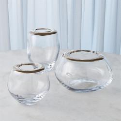 Organic Formed Vase - Platinum Rim - Lg