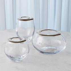 Organic Formed Vase - Platinum Rim - Med