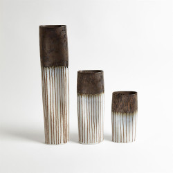 Reactive Bronze Stripe Oval Vase - Sm