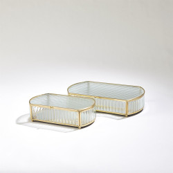 Reeded Glass Oval Box - Lg