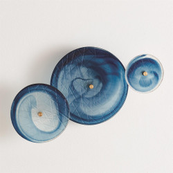 S/3 Crosshatched Wall Discs - Blue Swirl