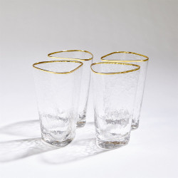S/4 Hammered High Ball Glasses - Clear W/Gold Rim