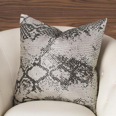 Shimmer Snake Skin Pillow - Silver