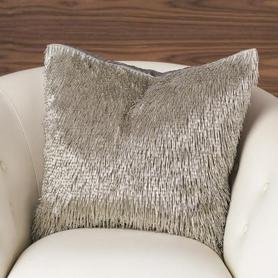 Shimmy Fringe Pillow - Silver