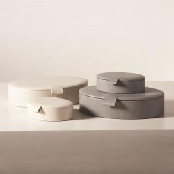 Signature Oval Leather Box - Mist - Sm