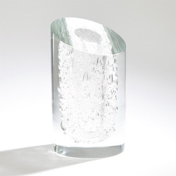 Slant Vase - Clear w/Bubbles