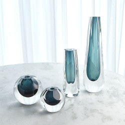 Square Cut Glass Vase - Azure
