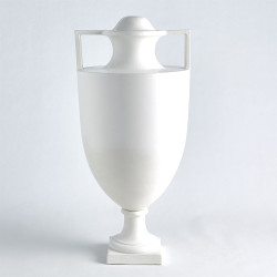 Square Handle Amphora Urn - Matte White