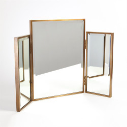 Tri - Fold Vanity Mirror - Antique Brass
