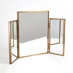 Tri - Fold Vanity Mirror - Antique Brass