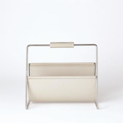 Vivien Literature Holder - Nickel w/Grey Leather