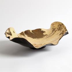 Wave Platter - Gold Crackle