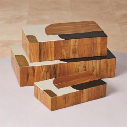 Wooden Inlaid Box - Black/Ivory - Lg