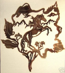Mustang in Wild Rose Metal Wall Art