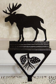 Moose Lodge Christmas Stocking Holder Metal Art