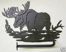 Moose in Pond Toilet Paper Holder Log Cabin Decor