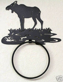 Moose Cow in Pond Log Cabin Decor Towel Ring