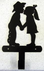 Kissing KIds Western Decor Metal Art Towel Robe Hook