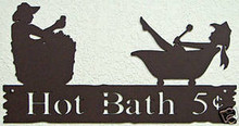 Hot Bath Rustic Western Metal Art Word Sign