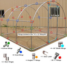 "Greenhouse Fitting Kit 10' X 12' (3 Purlin) for 1-3/8"" top rail tubing"