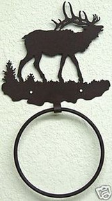 Elk Bull in Hills Towel Ring Wildlife Decor