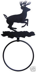 Deer Jumping Rustic Lodge Decor Towel Ring