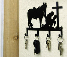 Cowboy Praying at Cross Western Key Holder