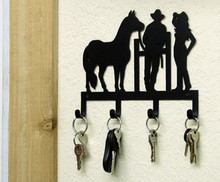Cowboy Cowgirl Horse Western Key Holder