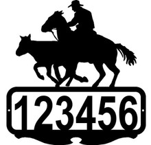 Cowboy Bulldoggin' Custom Address Sign