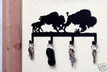 Buffalo Herd Metal Art Key Holder