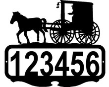 Amish Carriage with Light Custom Address Sign