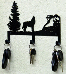 Howling Wolf Rustic Lodge Metal Art Key Holder