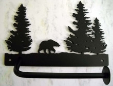 Bear in Trees Toilet Paper Holder Rustic Lodge Decor