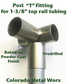 """T"" Fitting for Post Attachment used with 1-3/8"" top rail tubing"