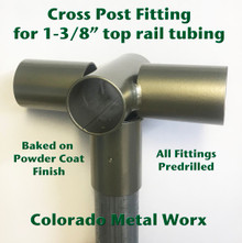 "Cross Post Fitting for 1-3/8"" top rail tubing"