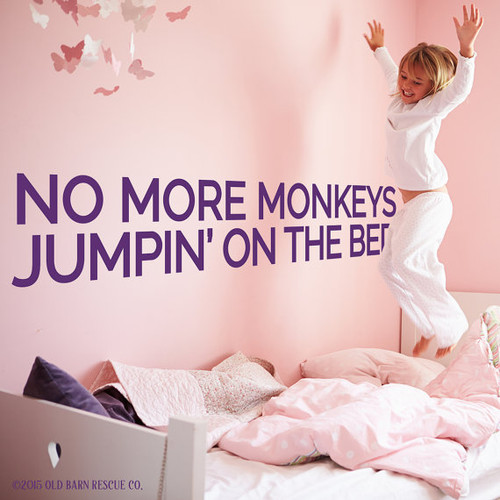 No more monkeys jumpin on the bed - wall decal