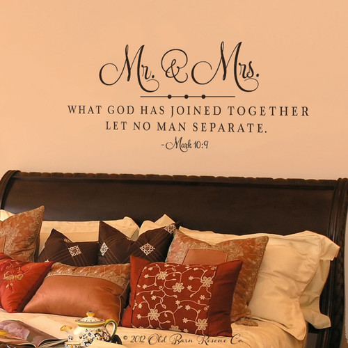 Mr and Mrs. what God has joined together - wall decal
