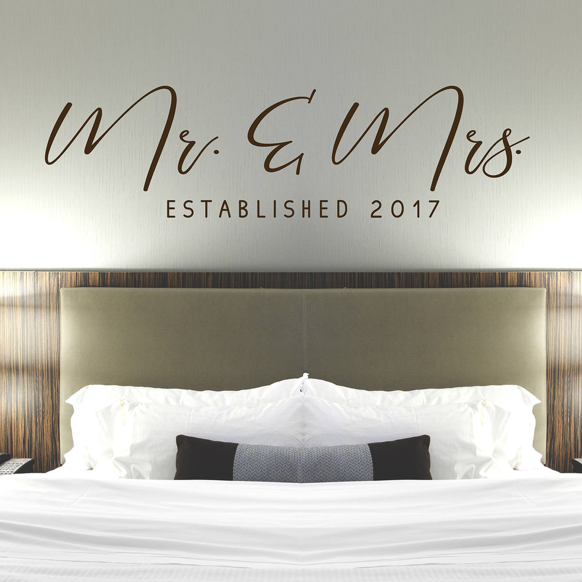 Mr & Mrs Wall Decal - Master Bedroom Wall Decor - Established Date ...