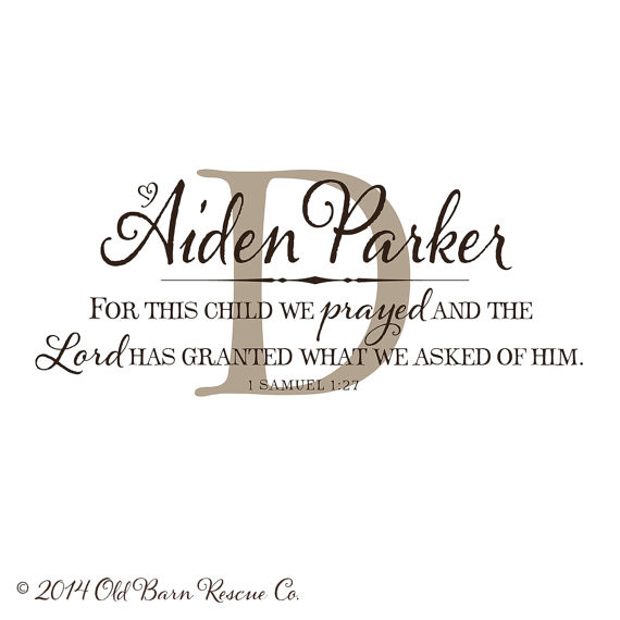 bd12ab519 Personalized Nursery Wall Art - For This Child We have Prayed Decal