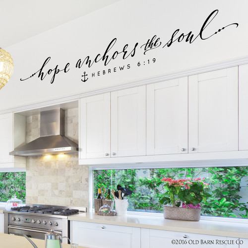 Hope anchors the soul - wall decal - closeup
