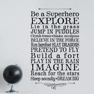 Be a superhero boys room wall decor